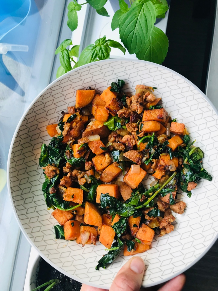 Chorizo, Sweet Potato and Kale Hash