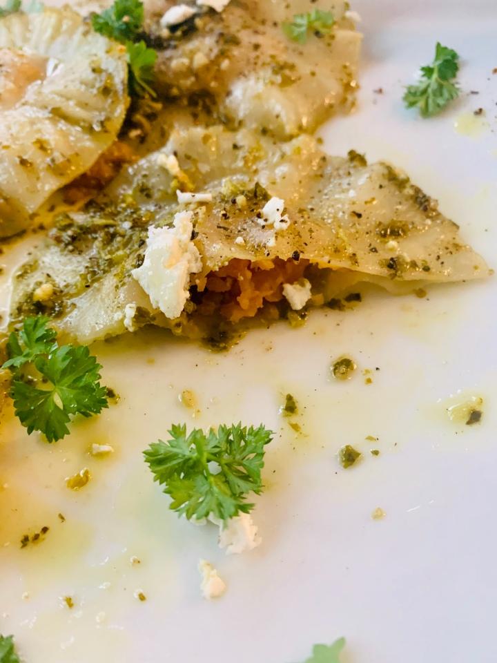 Sweet Potato Ravioli with KalePesto