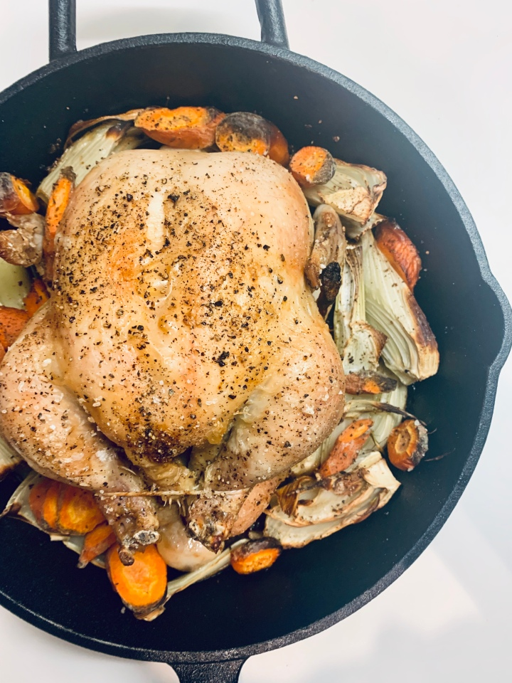 Cast-Iron Roast Chicken with Fennel andCarrots
