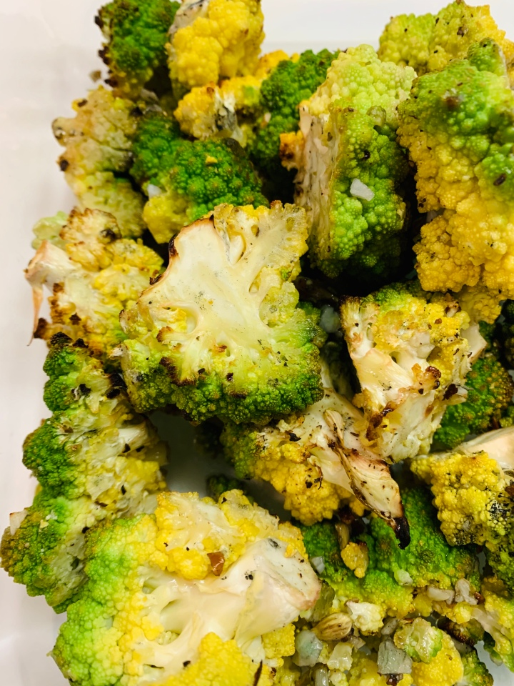 Garlic and Lemon Roasted Romanesco
